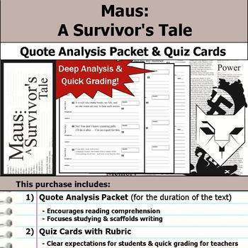 Maus - A Survivor's Tale - Quote Analysis & Reading Quizzes