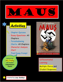 Maus I by Art Spiegelman- Activities, Quizzes, and Essays for Teaching