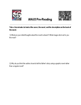 Maus II by Art Spiegelman (Pre-Reading activity and full discussion guide)
