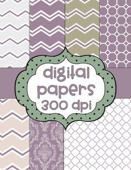 Mauve Digital Papers - 7 pages - chevron, tile, vintage, zig zag