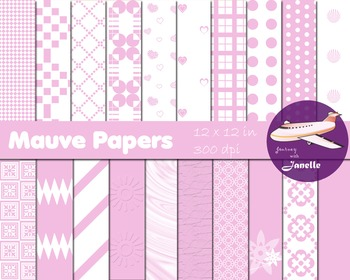 Mauve Digital Papers for Backgrounds, Scrapbooking and Classroom Decorations