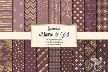Mauve and Gold Digital Paper