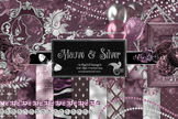 Mauve and Silver Digital Scrapbooking Kit