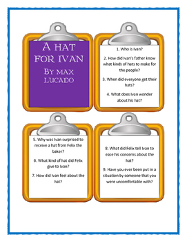 Max Lucado A HAT FOR IVAN - Discussion Cards