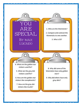Max Lucado YOU ARE SPECIAL - Discussion Cards