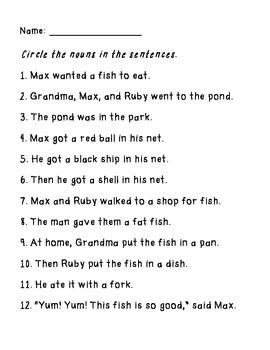 Max and Ruby: A Big Fish for Max- Grammar Supplemental Materials