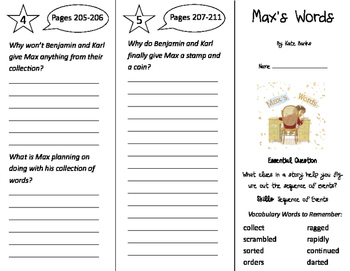 Max's Words Trifold - Journeys 3rd Grade Unit 2 Week 1