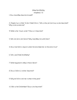 Max the Mighty Comprehension Questions Chapters 1-5