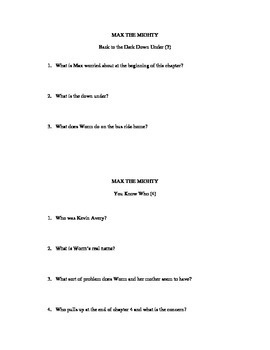 Max the Mighty Comprehension Questions/Study Guide