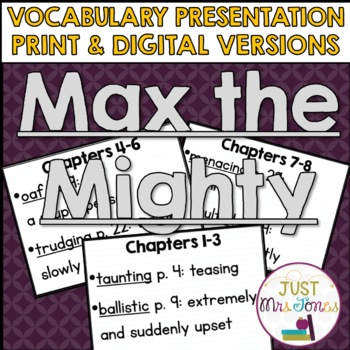 Max the Mighty Vocabulary Presentation