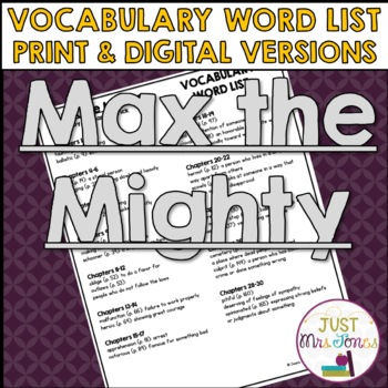 Max the Mighty Vocabulary Word List