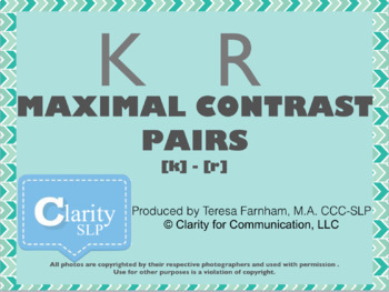 Maximal Contrast Pairs [k-r] for Phonology Therapy