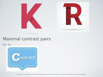 Maximal Contrast Pairs [k-r] for Phonology Therapy - PPT version