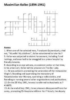Maximilian Maria Kolbe Crossword