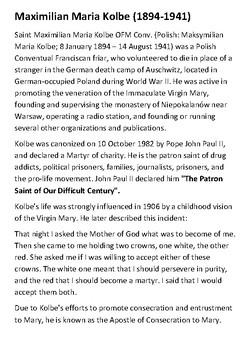 Maximilian Kolbe Handout