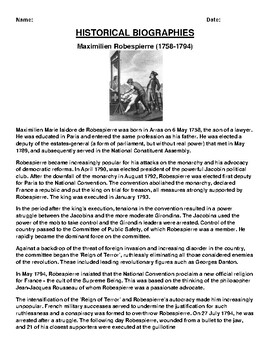 Maximilien Robespierre  Biography Article and (3) Assignments