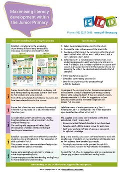 Maximising literacy development within the Junior Primary