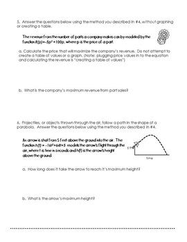 Maximizing Quadratics Exploration Activity