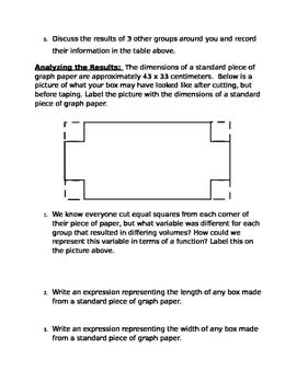 Maximizing Volume: Cubic Functions (popcorn lab)