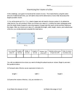 Maximizing the Volume of a Box Exploration