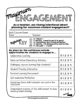 Maximum Engagement! A Teacher's Planning Form for Ensuring