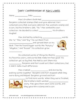 Max's Words Activities 3rd Grade Journeys Unit 2, Lesson 6 (2011 version)