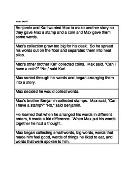 Max's Words Sequencing Sentences