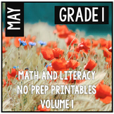 May Spring Summer First Grade Math and Literacy NO PREP Co