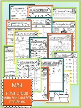 May Spring Summer First Grade Math and Literacy NO PREP Common Core Aligned
