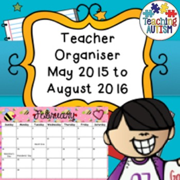 May 2015 - August 2016 Monthly Calendar with Holidays