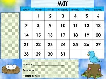 May 2018 Interactive Whiteboard Calendar