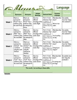 May 2016 High School Vocabulary Main Idea Language Calendar