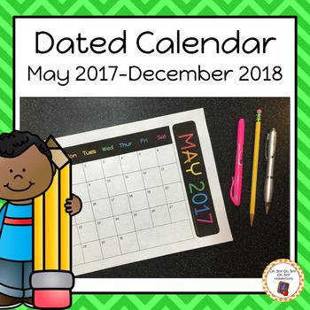 May 2017 - December 2018 Calendar