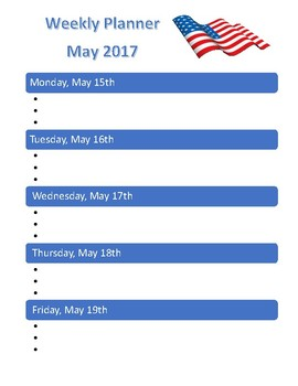 May 2017 Student Weekly Planner