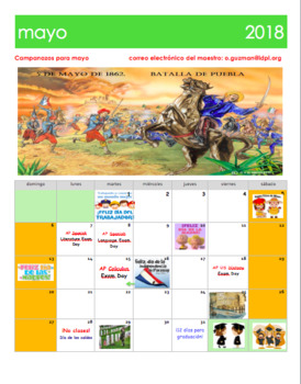 may 2018 calendar in spanish calendario mayo 2018 en espaol with holidays