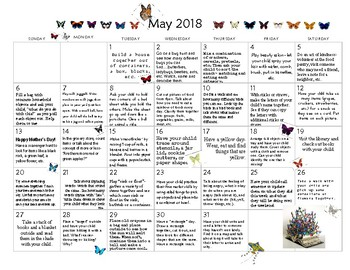 May 2018- Early Learning Calendar