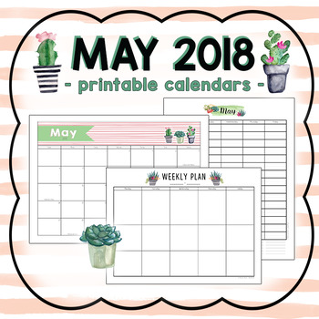 May 2018 Printable Monthly, Weekly, and Hourly Calendars - FREEBIE