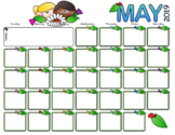May 2019 Calendar - Kids with Flowers Theme