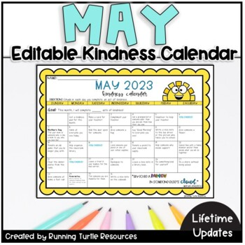 Act Calendar 2020 May Kindness Calendar *Editable* (Updated for 2020!) | TpT