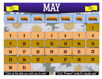 May 2021 Interactive Calendar/Lesson Planner-For any Class (Google Slides)
