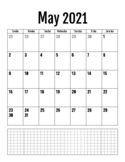 May 2021 - June 2022 Black and White Calendar 8.5 x 11