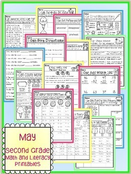 May Spring Summer Second Grade Math and Literacy NO PREP Common Core Aligned