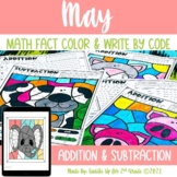May Addition and Subtraction Color and Write by Code | Pri