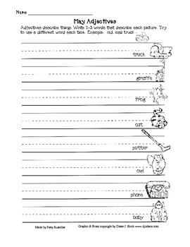 May Adjective Worksheets