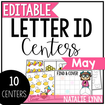 May Alphabet Centers: Editable Letter ID Centers