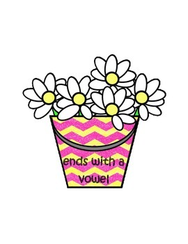 Bucket of Daisies Ends with a Vowel or Consonant Literacy Center Week 1 & 2
