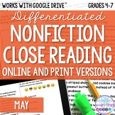 May COMBO Differentiated Nonfiction Close Reading Texts an