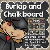 May Calendar: Burlap and Chalkboard