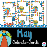 May Calendar Cards {summer beach crab sand} {Morning Math} Number Corner