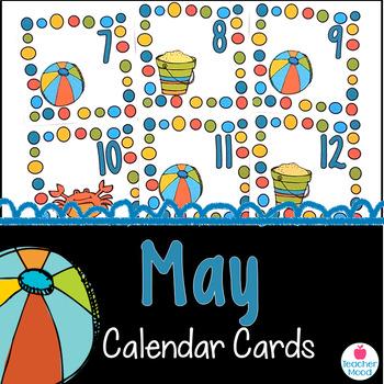 May Calendar Cards {summer beach crab sand} {Morning Math}